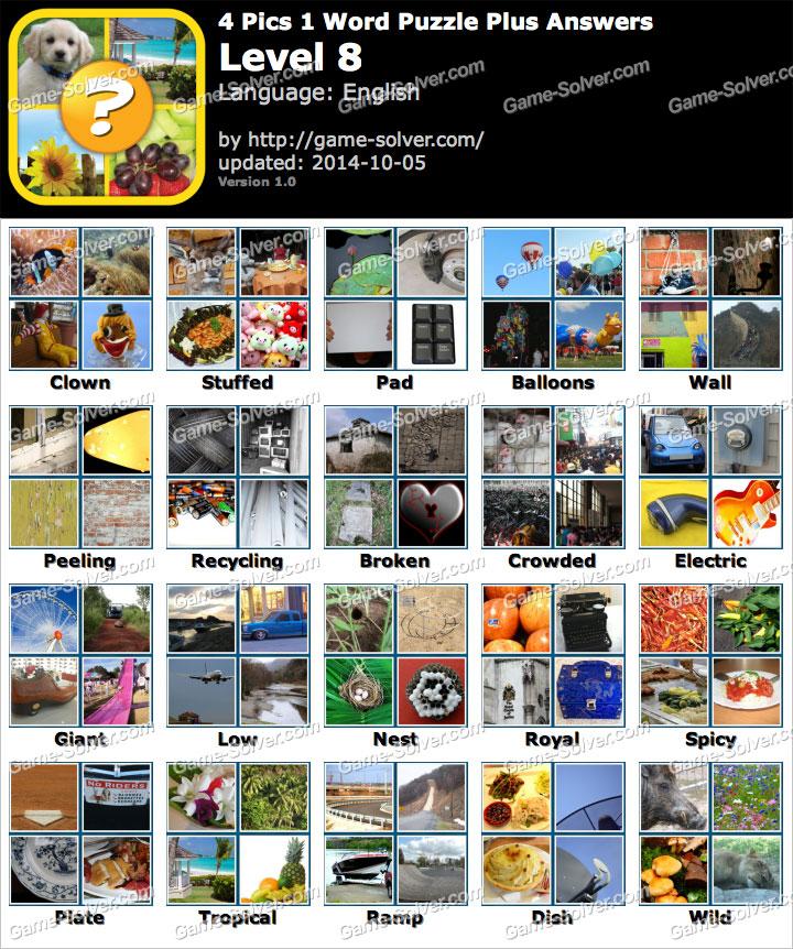 Pics 1 Word Puzzle Plus Level 8 - Game Solver
