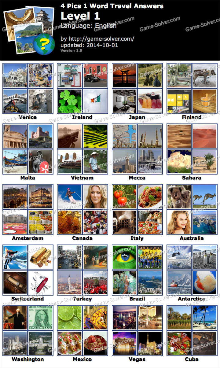4 Pics 1 Word Travel Level 1
