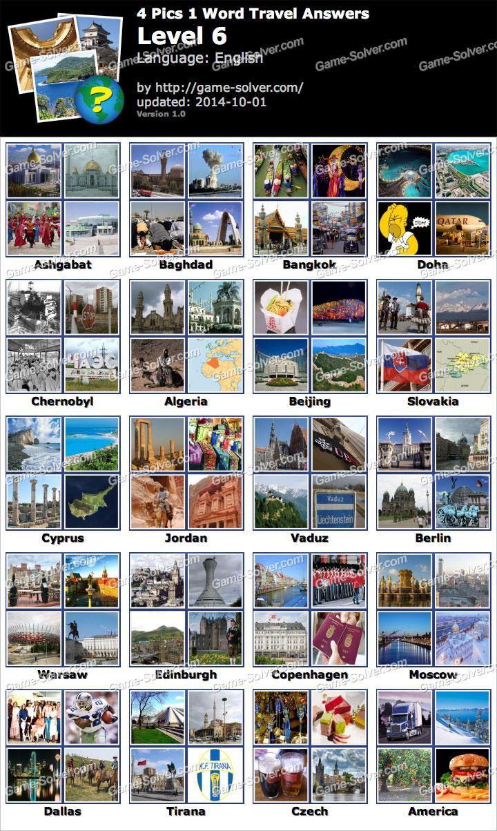 Pics 1 Word Travel Level 6 - Game Solver
