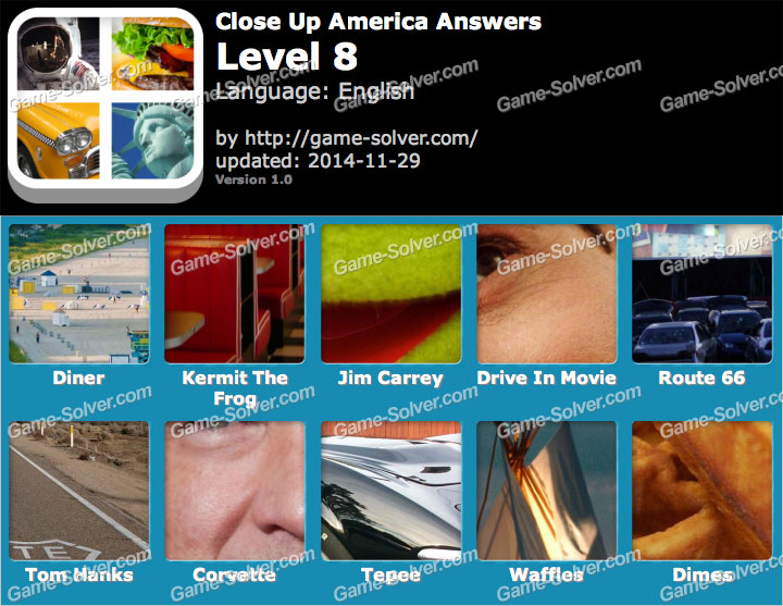 Close Up America Level 8 Game Solver