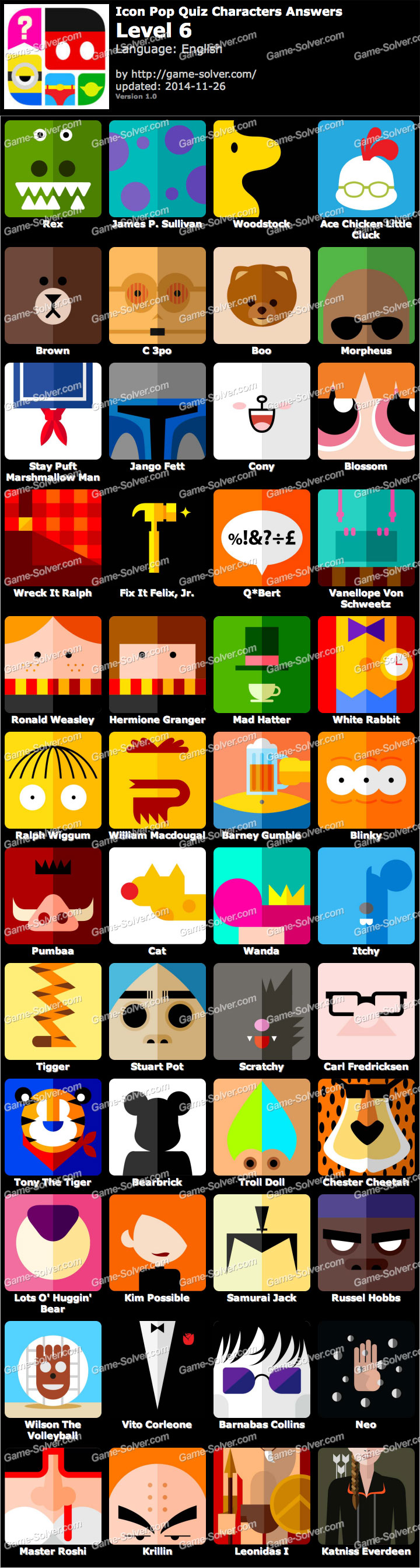 Level 6 Cartoon Characters : Icon pop quiz characters level game solver