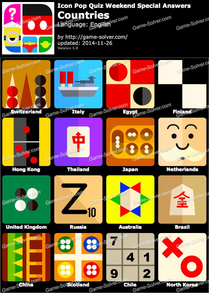 Icon Pop Quiz Weekend Specials Countries - Game Solver