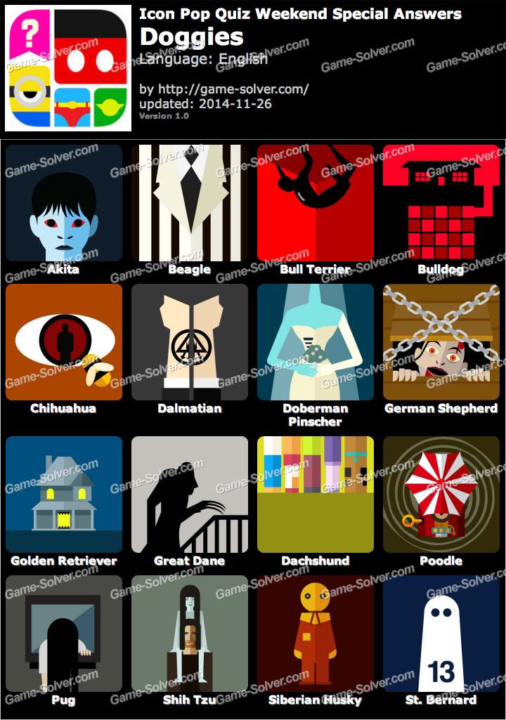 Icon Pop Quiz Weekend Specials Doggies - Game Solver