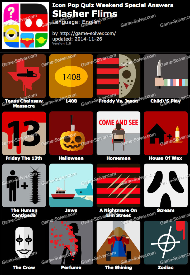 Icon Pop Quiz Weekend Specials Slasher Flims
