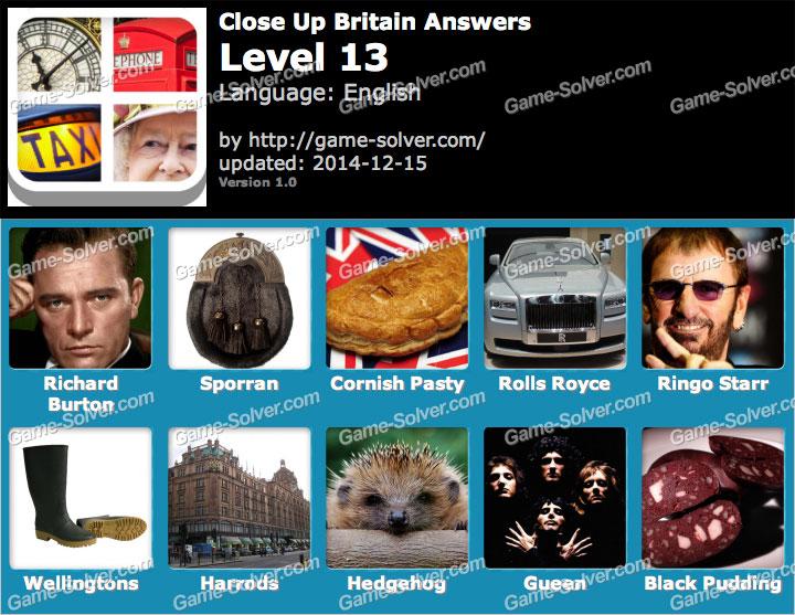 Close Up Britain Level 13 Game Solver