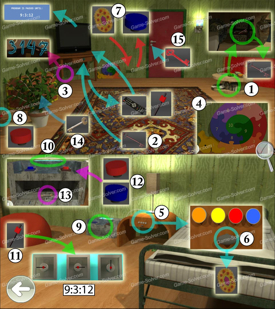Escape from the room with the device walkthrough solution cheats - Escape 10 Magic Rooms Stage 6