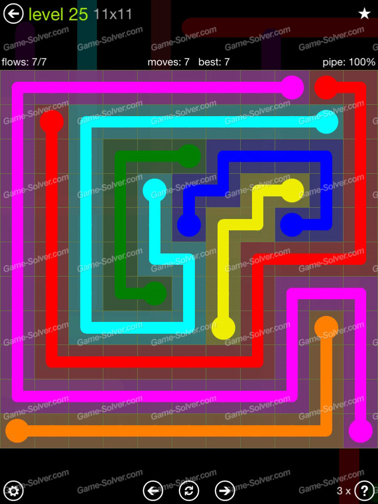 Flow Extreme Pack 11x11 Level 25 Game Solver