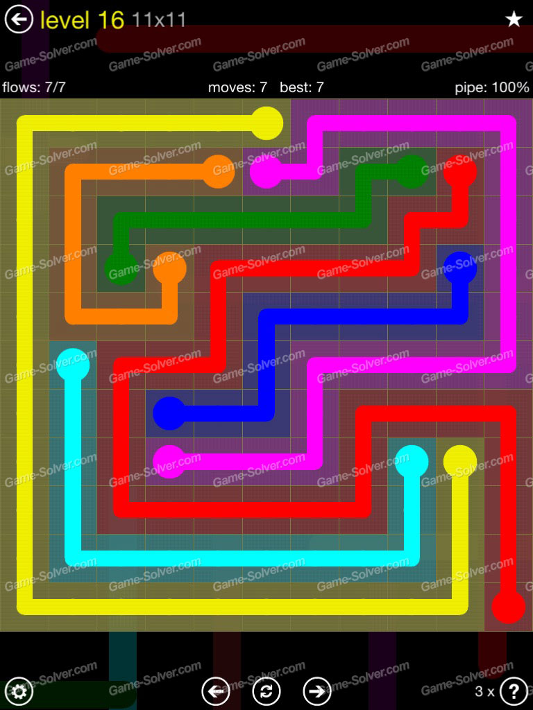 Flow Extreme Pack 2 11x11 Level 16 Game Solver