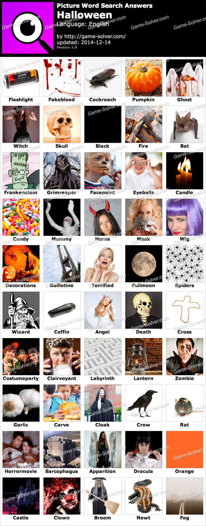 Picture Word Search Halloween Answers - Game Solver