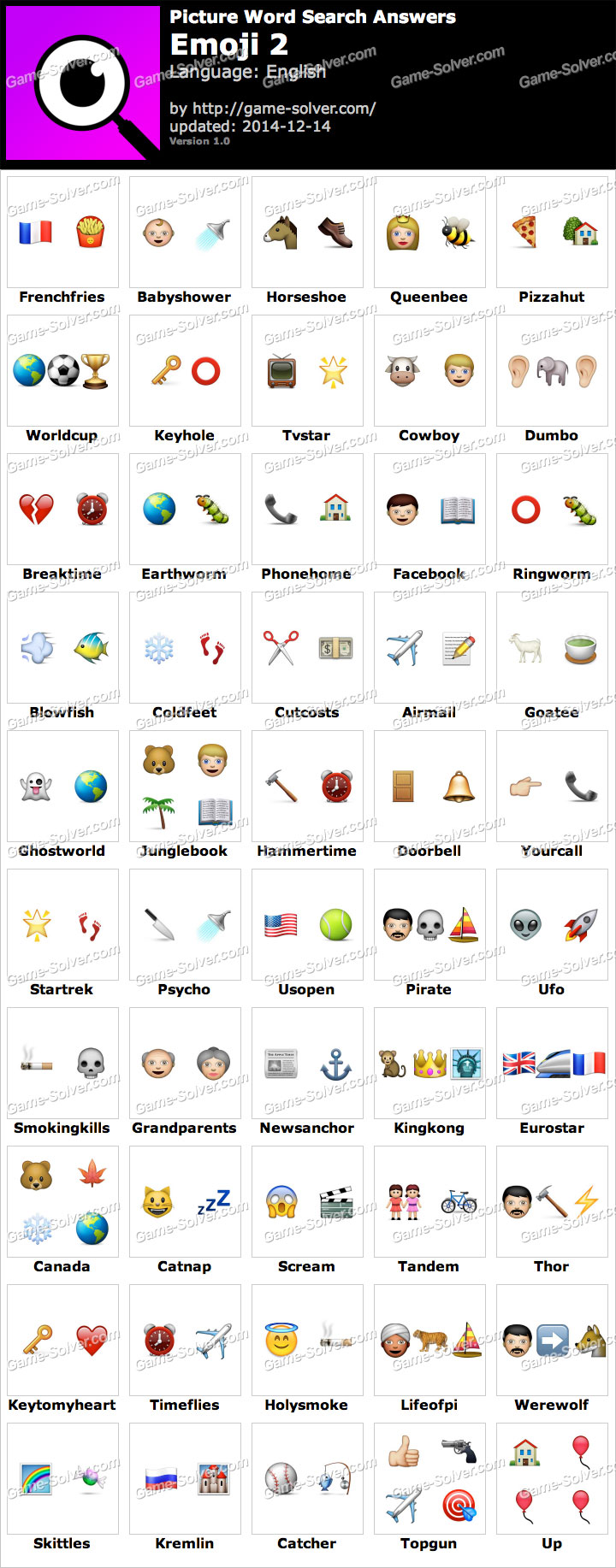 Picture Word Search Emoji 2 Answers - Game Solver