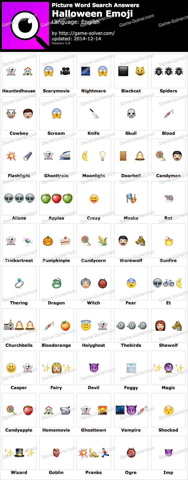 Picture Word Search Halloween Emoji Answers - Game Solver