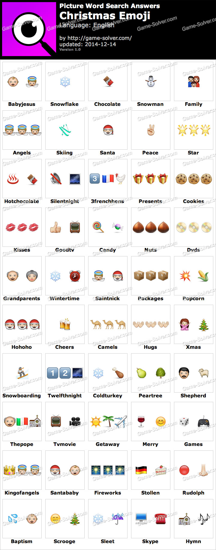 100 Pics Christmas Emoji.Picture Word Search Christmas Emoji Answers Game Solver