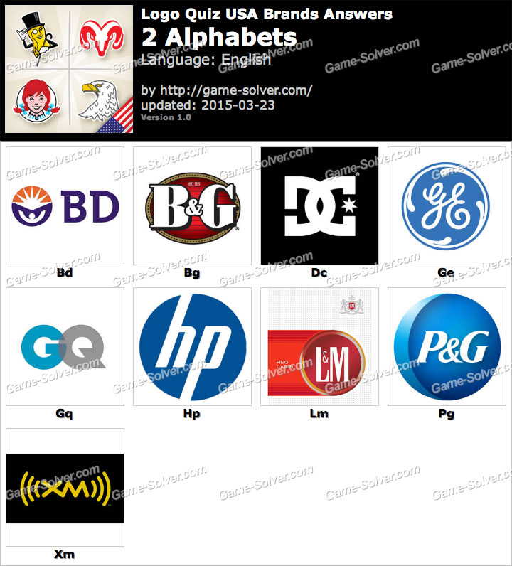Logo Quiz USA Brands 2 Alphabets