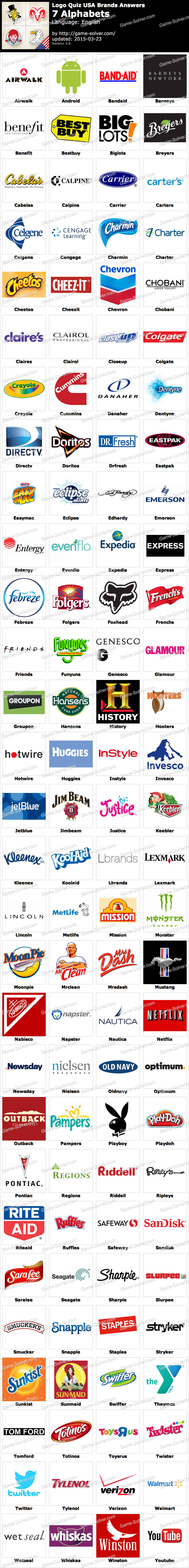 Logo Quiz USA Brands 7 Alphabets - Game Solver