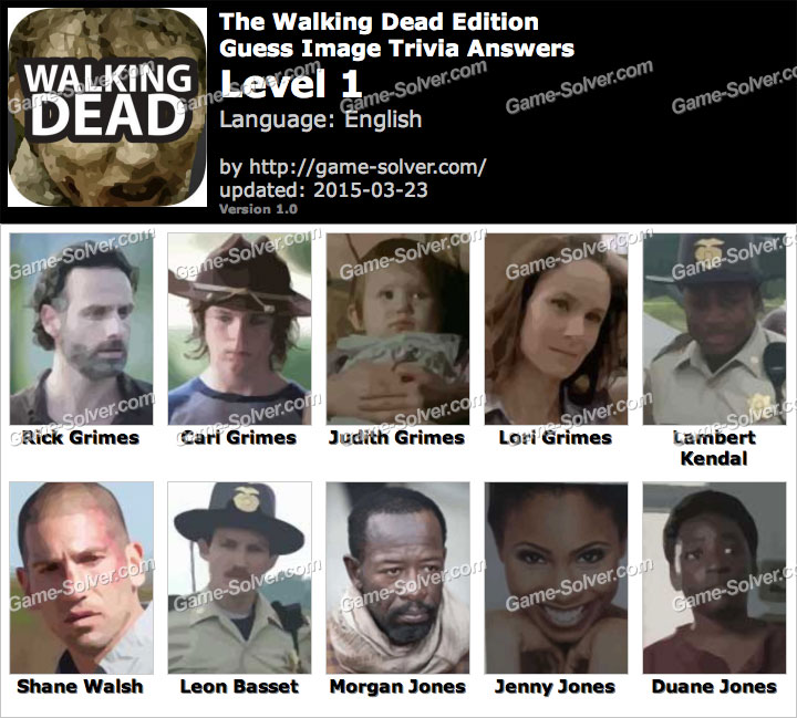 Walking Dead Edition Guess Image Trivia Level 1
