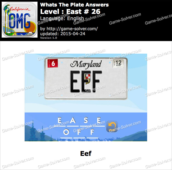 Whats The Plate East 26 - Game Solver