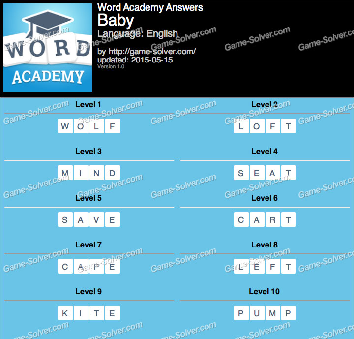 Word Academy Baby Answers