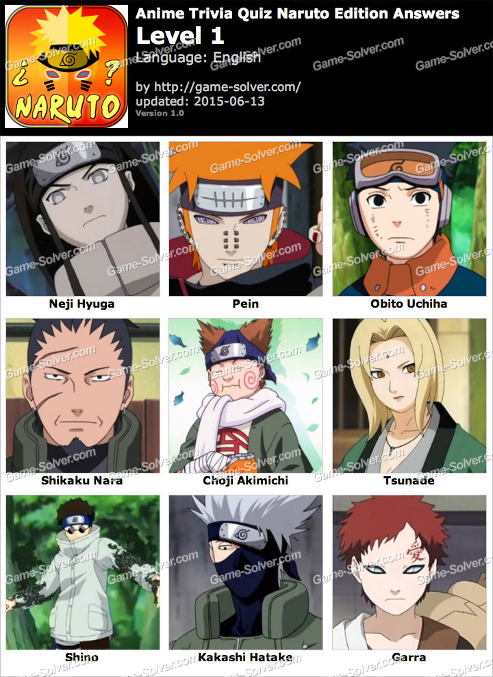 Anime Trivia Quiz Naruto Edition Game Answers - Game Solver