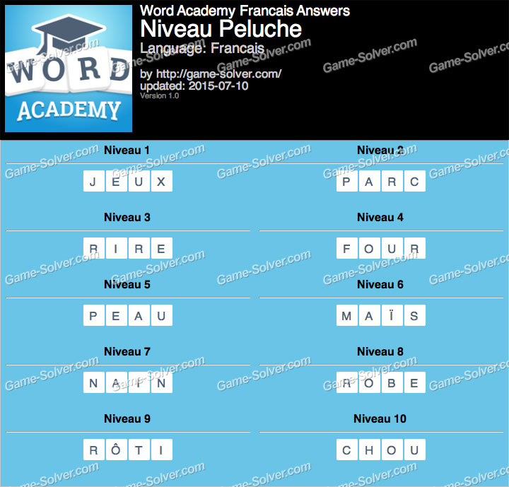 Word Academy Francais Peluche Answers