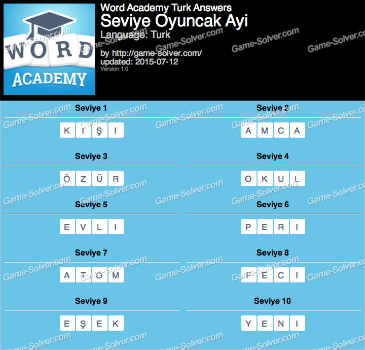 Word Academy Turk Oyuncak Ayi Answers