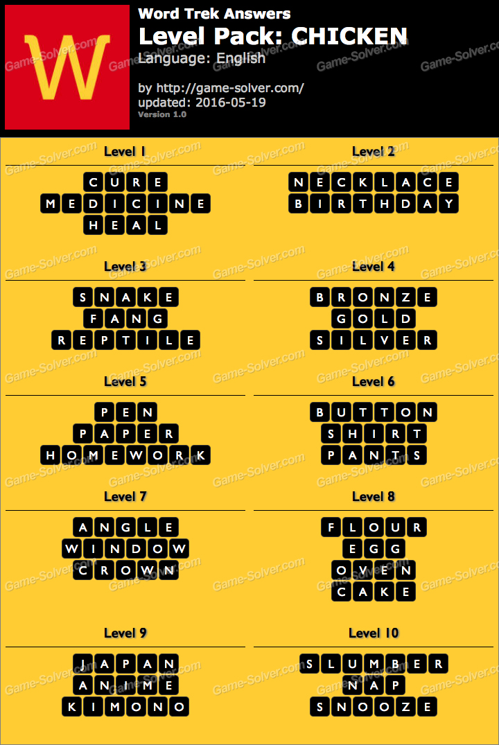 word trek level pack 25 chicken answers game solver
