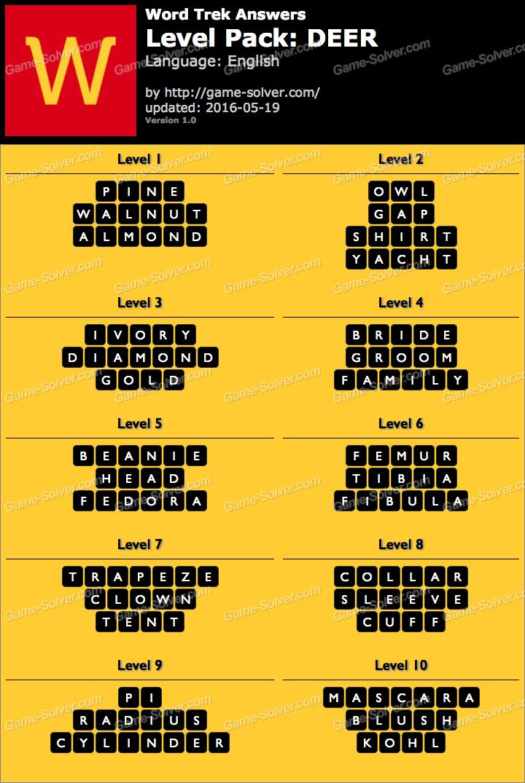 word trek level pack 30 deer answers game solver