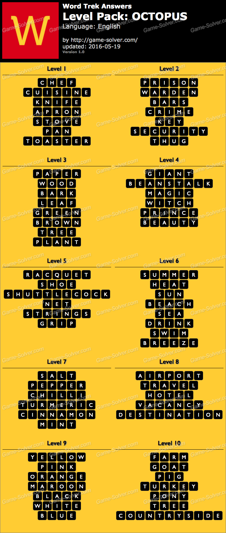 Word Trek Level Pack 45 OCTOPUS Answers - Game Solver