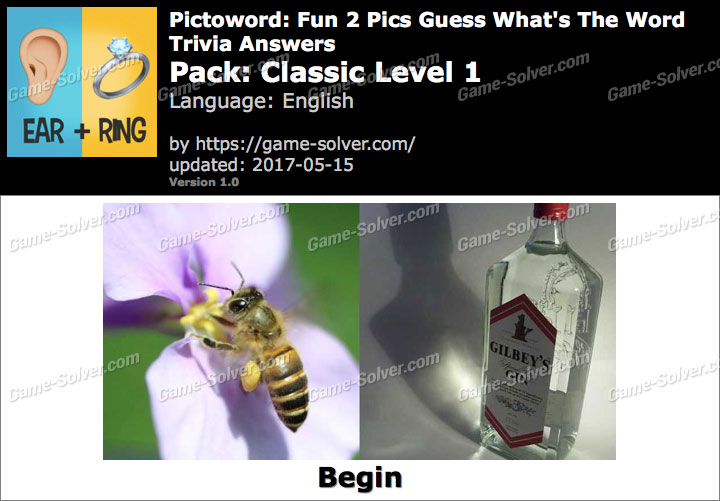 Pictoword Fun 2 Pics Classic Level 1 Answers