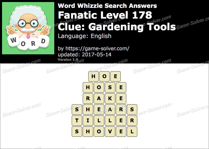 Gardening tools word whizzle answers the expert for Gardening tools word search