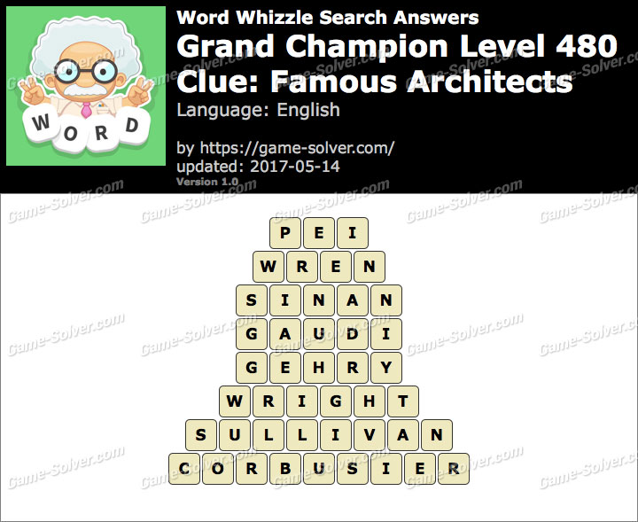 Word Whizzle Search Grand Champion Level 480 Answers