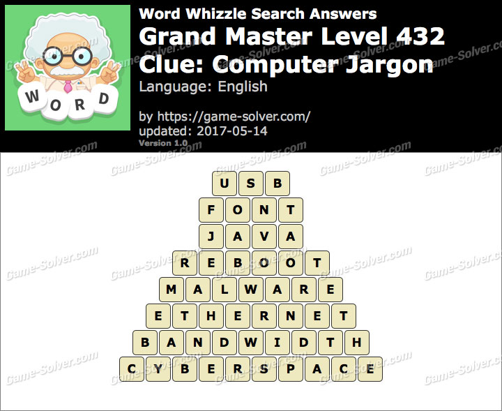 Word Whizzle Search Grand Master Level 432 Answers Game Solver