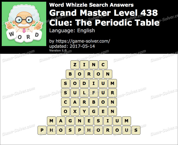 Word Whizzle Search Grand Master Level 438 Answers Game Solver