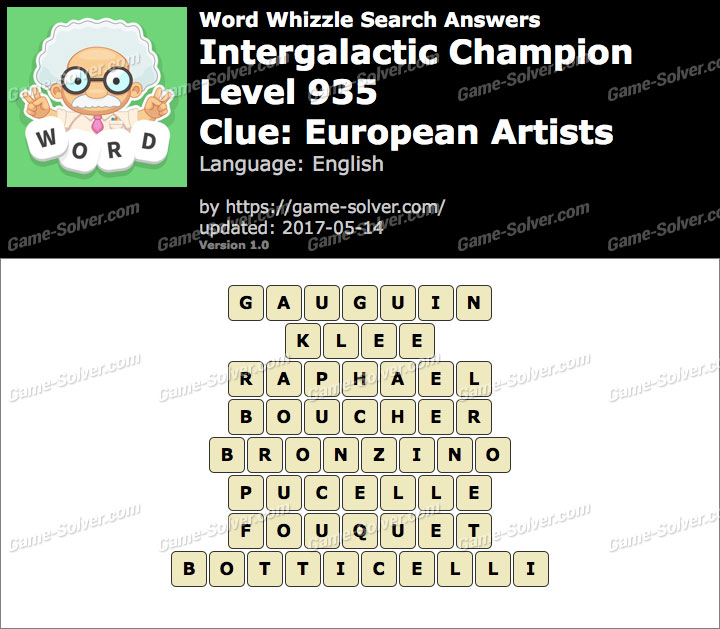 Word Whizzle Search Intergalactic Champion Level  Answers