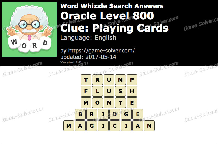 Word Whizzle Search Oracle Level 800 Answers