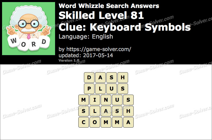 Word Whizzle Search Skilled Level 81 Answers Game Solver