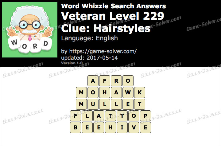 Word Whizzle Search Veteran Level 229 Answers Game Solver