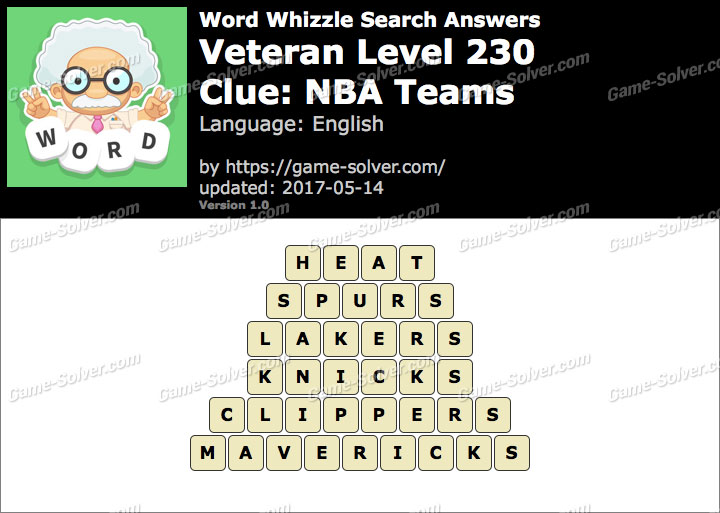 Word Whizzle Search Veteran Level 230 Answers Game Solver