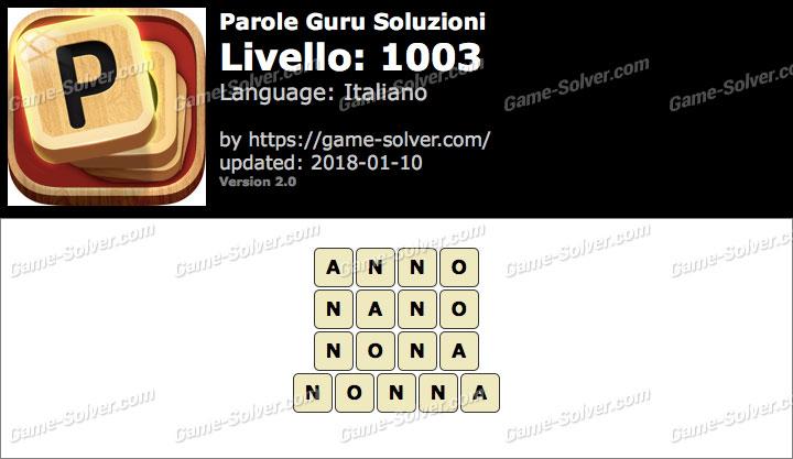 Parole Guru Livello 1003 Soluzioni
