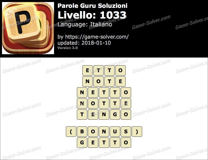 Parole Guru Livello 1033 Soluzioni
