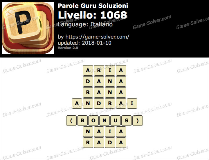 Parole Guru Livello 1068 Soluzioni