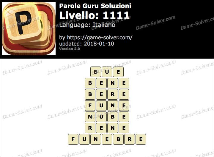 Parole Guru Livello 1111 Soluzioni