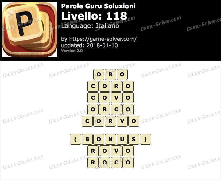 Parole Guru Livello 118 Soluzioni