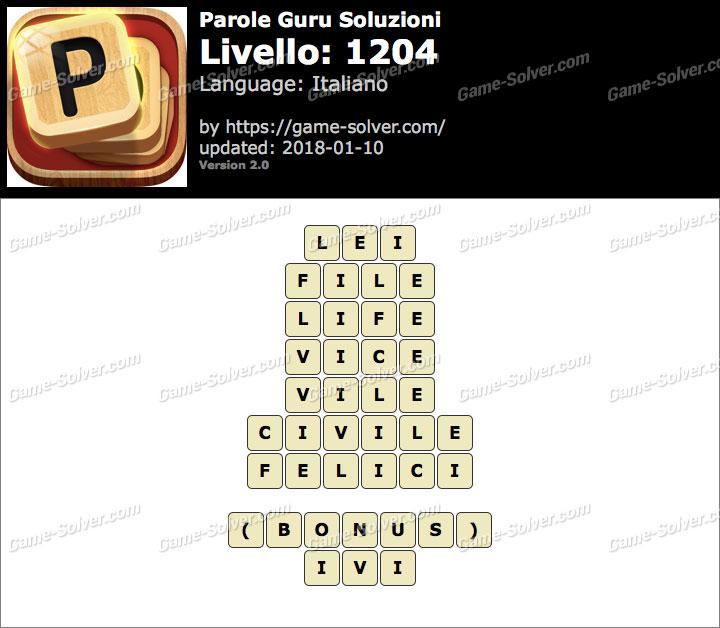 Parole Guru Livello 1204 Soluzioni