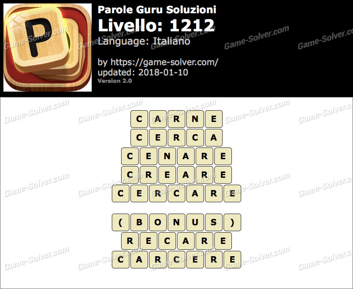 Parole Guru Livello 1212 Soluzioni
