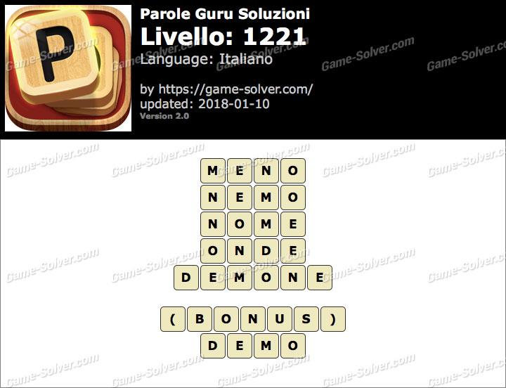 Parole Guru Livello 1221 Soluzioni