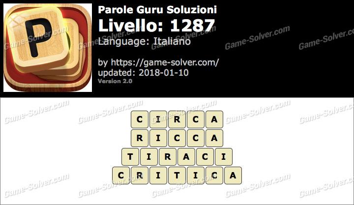 Parole Guru Livello 1287 Soluzioni