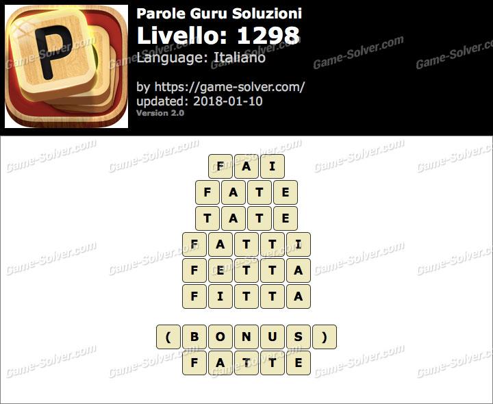 Parole Guru Livello 1298 Soluzioni