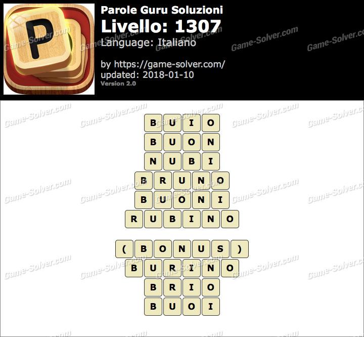 Parole Guru Livello 1307 Soluzioni