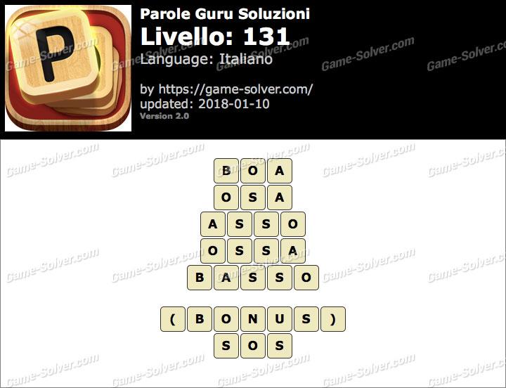 Parole Guru Livello 131 Soluzioni
