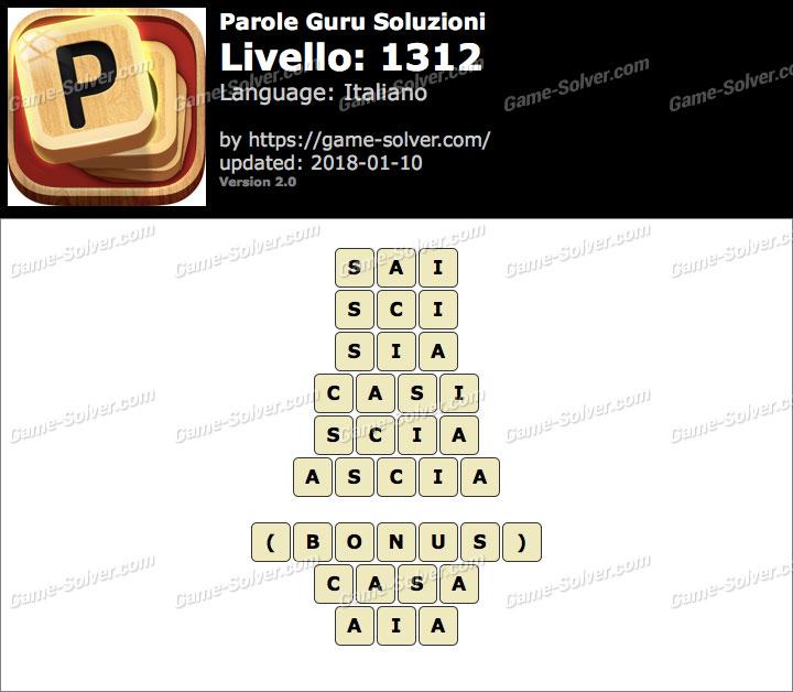 Parole Guru Livello 1312 Soluzioni
